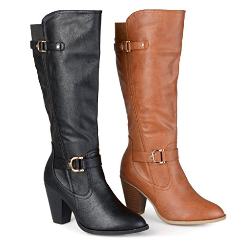 Brinley Co. Womens Regular and Wide-Calf Knee-High Ankle-Strap Buckle Dress Boot