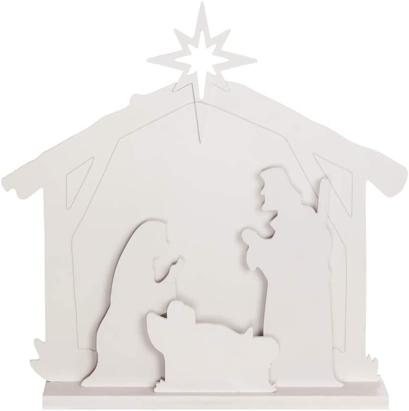 Evergreen Garden Beautiful Decorative Nativity LED Garden Statue - 5 x 28 x 28 Inches Fade and Weather Resistant Indoor/Outdoor Decoration for Homes, Yards and Gardens