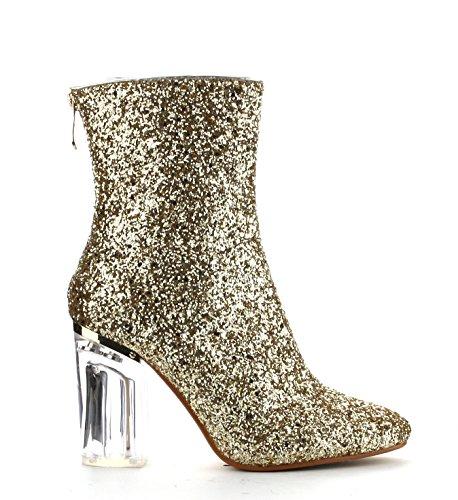 Cape Robbin Tammys Esclusivo Senza Frontin In Vetro Tacco Elasticizzato Stivaletto Oro Glitter