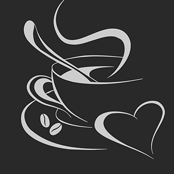 Grandora Tatuaje de Pared Taza de café corazón I Gris Claro (WxH ...