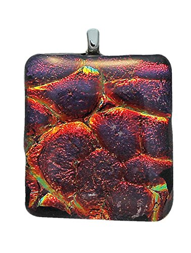Jewels of Fire Dichroic Glass Pendant in Red, Purple, Orange (Pendant Dichroic)
