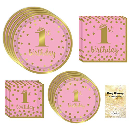 1st Birthday Girl Party Supplies, Pink and Gold Design, Bundle of 4 Items: Dinner Plates, Dessert Plates, Lunch Napkins and Beverage -