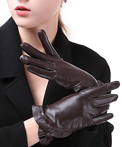 Harrms Best Luxury touchscreen Italian Nappa Genuine Leather Gloves for women's Texting Driving Cashmere Lining - Brown Italian Glove