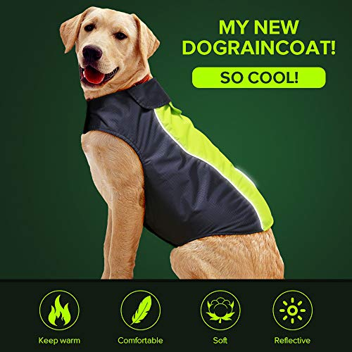 Vizbrite Dog Raincoat Waterproof Windproof Dog Jacket with Comfortable Fleece Reflective Line Dog Cloth Apparel for Small Medium Large Dogs (XLarge, Green)