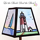 Hand Painted Fabric Lampshade of Point Judith (RI) Lighthouse, simulated stained glass