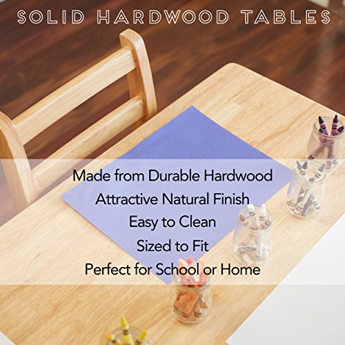 """ECR4Kids 30"""" Round Natural Hardwood Table, 22"""" Height with Two 12"""" Chair Set (3-Piece)"""