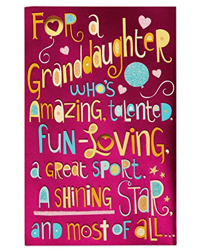Shining Star Birthday Card for Granddaughter with Glitter (Birthday Star Card)