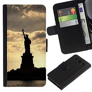 NEECELL GIFT forCITY // Billetera de cuero Caso Cubierta de protección Carcasa / Leather Wallet Case for Samsung Galaxy S3 III I9300 // Estatua de la Libertad Silueta