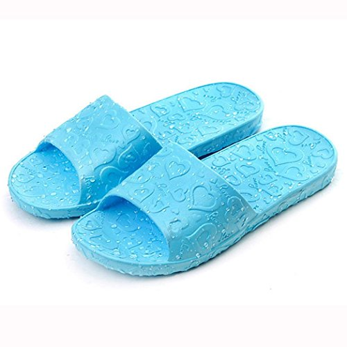 Tenworld Anti-Slip Flat Bath Slippers Slide-on Women's Shower Poolside Sandal (7, Blue) (Deluxe Red Hair Spray)