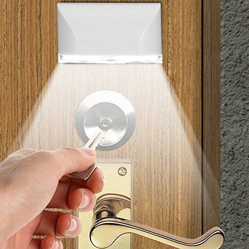 shakeball, Keyhole Light Lamp PIR Infrared Wireless Auto Sensor Motion Detector Door Keyhole with 4 LED Light Lamp Stick-on Anywhere Tap Lights LED Night Light Practical for Key Hole/Door Lock