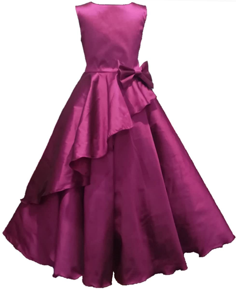 faa70a2fd6 Full Length gown party wear Purple (magenta) dress for 1-12 years girls:  Amazon.in: Clothing & Accessories
