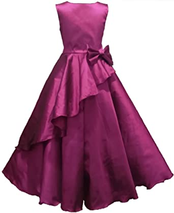 da08663a0e09 Full Length gown party wear Purple (magenta) dress for 1-12 years girls   Amazon.in  Clothing   Accessories