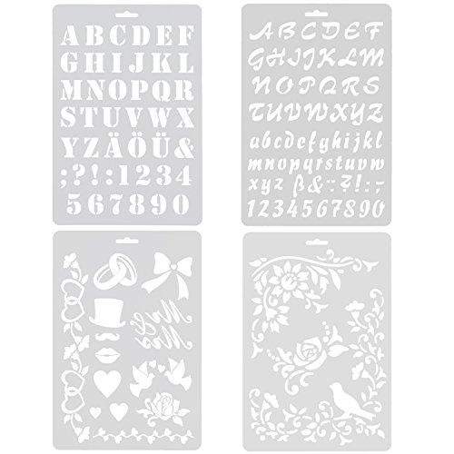 Pack of 4 Large Letter Nunber & Graphics Drawing Painting Stencils Scale Template for Scrapbooking, Card and Craft Projects (Children Letter Stencils)