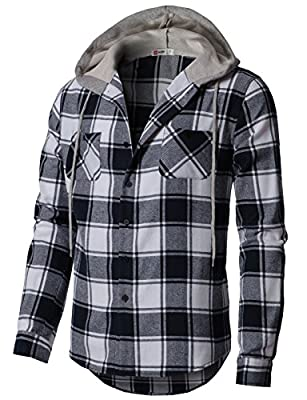H2H Mens Casual Hoodie Jackets Long & Short Sleeve with Pockets of Various Styles