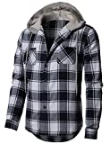 H2H Men's Long Sleeve Quilted Lined Flannel Shirt Jacket With Hood Navy US XL/Asia 2XL (CMOJA0105)