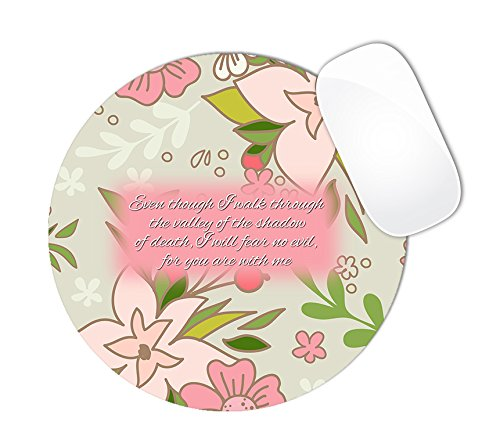 Psalm 23:4 Bible Verse Floral Flowers With Light Pink & Cream Colors Mouse Pad (ROUND)