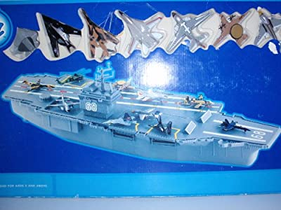 """Aircraft Carrier (31"""" Super-Size with Moving Parts) with 10 Die-Cast Airplanes"""