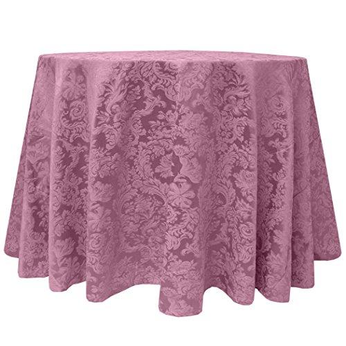 Ultimate Textile -5 Pack- Miranda 72-Inch Round Damask Tablecloth - Jacquard Weave, English Rose Pink