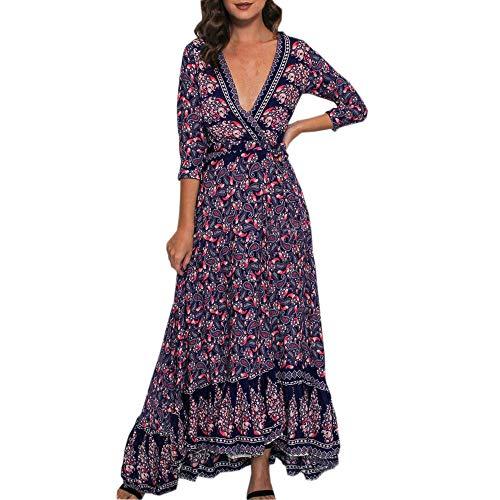 (HITRAS Clearance!Womens Dress!Women Printing 3/4 Sleeve Sexy V Neck High Waist Boho Long Maxi Dress)