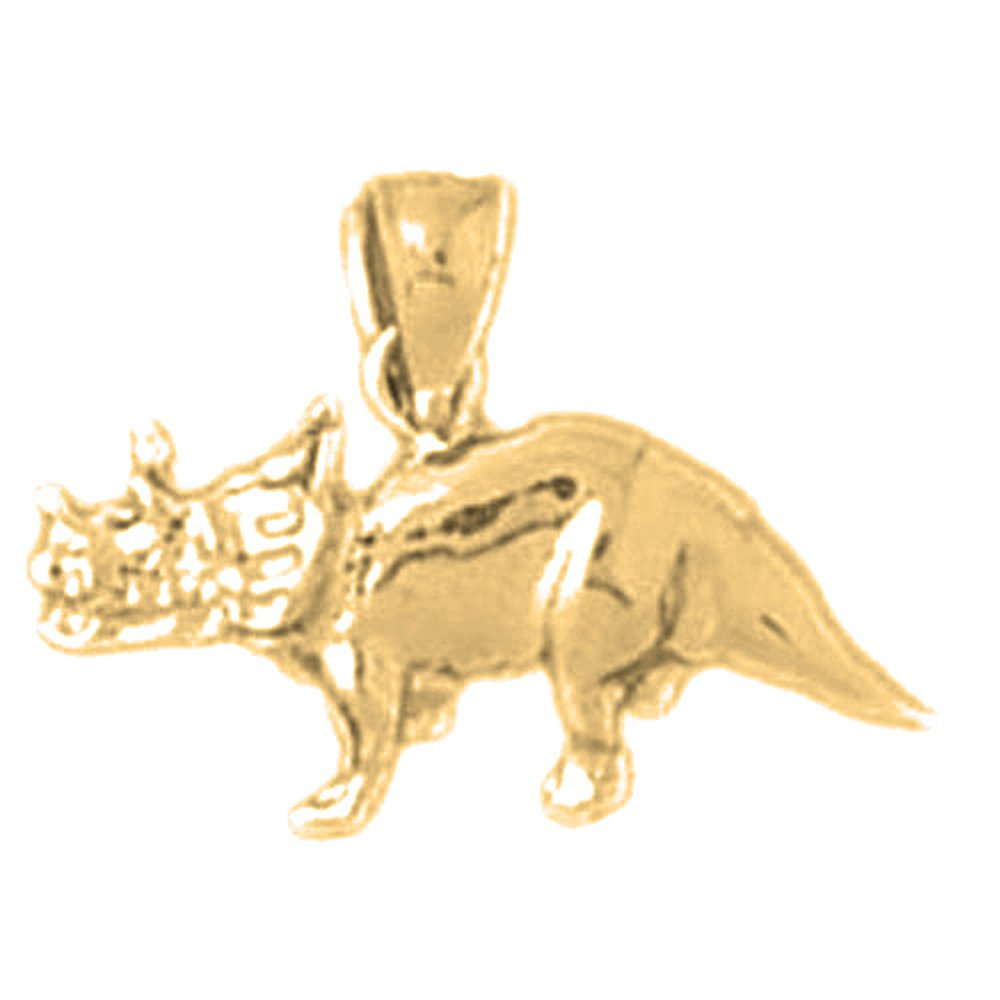 14K Yellow Gold Triceratops Dinosaur Pendant - 14 mm