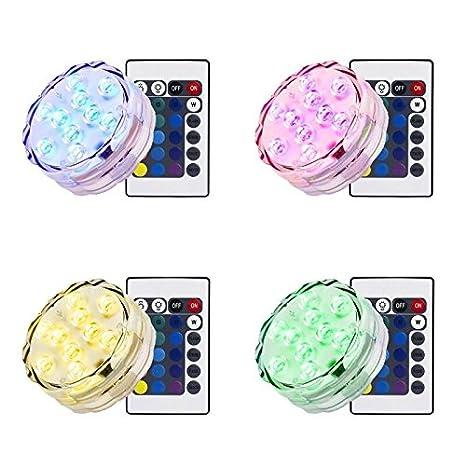 Simfonio Sumergible Luces LED Control Remoto Impermeable RGB Batería Cargadade Luz de La Piscina(4PCS