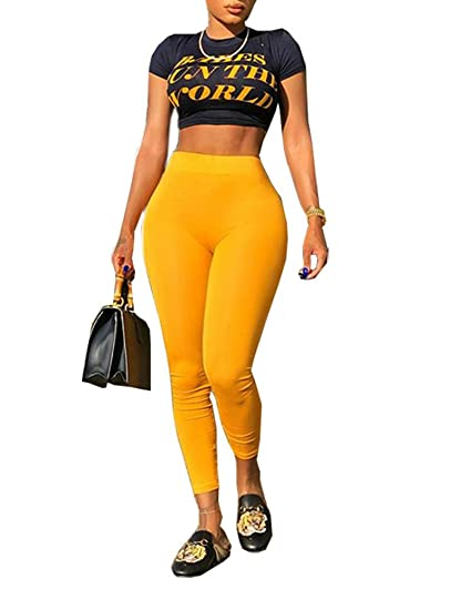 4a5b656aef9 Amazon.com  Kaximil Women s Letter Print T-Shirt Crop Top + Long Yellow  Pants Sexy Jumpsuits 2 Pieces Outfits Rompers  Clothing