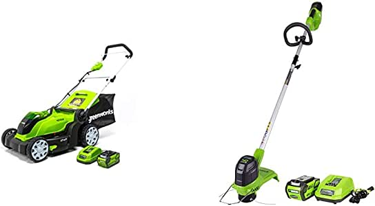 Greenworks G-MAX 40V 17'' Brushed Mower with 4Ah Battery and Charger - 2508302 Model & 12-Inch 40V Cordless String Trimmer, 2.0Ah Battery and Charger Included 2101602