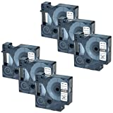 GREENCYCLE 6 Pack Industrial Polyester Compatible Dymo 18483 Black on White 1/2 inch x 18ft 12mm x 5.5m Label Tape Rhino 1000 3000 4200 5000 5200 6000 LabelWriter 450 Duo ILP 219 3M PL150 PL200 PL300