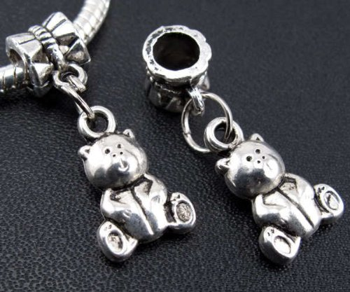Silver Teddy Dangle Bracelet Necklace product image