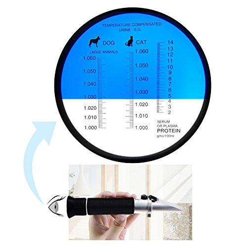 Clinical Refractometer with ATC, Tri-Scale Serum Plasma Protein Test 2-14g/dl Urine Specific Gravity 1.000-1.060SG, for Veterinary Vet Cat Dog Pets by Gain Express (Image #5)