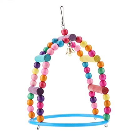 Parrots Colorful Chewing Swing Toy Bird Wooden Hanging