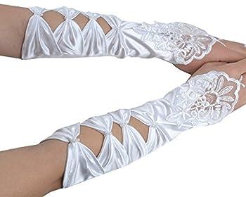 "JISEN Lady Fingerless Party Bridal Satin Lace Pearls Wedding Gloves 14"" White"