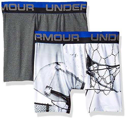 Under Armour Big Boys' 2 Pack Performance Boxer Briefs, Basketball/Carbon, Medium (10/12)