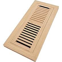 Homewell Red Oak Wood Floor Register, Flush Mount Vent With Damper, 4x12 Inch, Unfinished