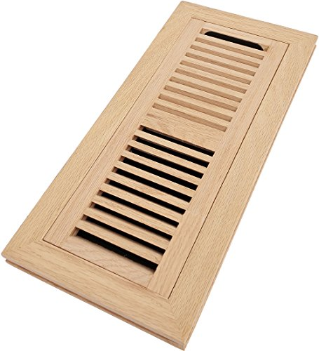 Homewell Red Oak Floor Register, Flush Mount Vent With Damper, 4 Inch x 12 Inch, Unfinished