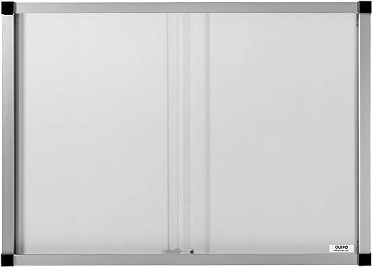 quipo vitrina, puertas correderas – 18 (3 x 6) de hojas DIN A4) – Metal de posterior – Vitrina de aluminio plana vitrina Info Buzón Póster vitrina presentación Pizarra Pizarra pared vitrina