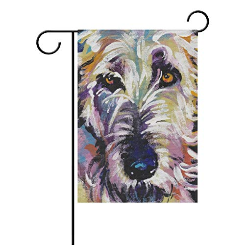 - FannyMT Home Garden Flag Irish Wolfhound Dog- Decorative Double Sided House Flag, 12