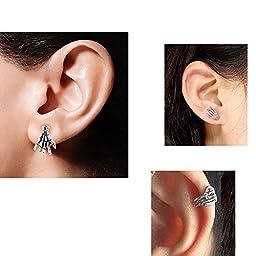 SQDeal 16g Lip Stud Punk Labret Monroe Cartilage Skeleton Hand Earrin Piercing Ring Bar (Sliver, 1 Pair)