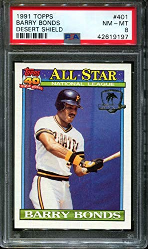 - 1991 TOPPS DESERT SHIELD #401 BARRY BONDS PIRATES PSA 8 B2690837-197