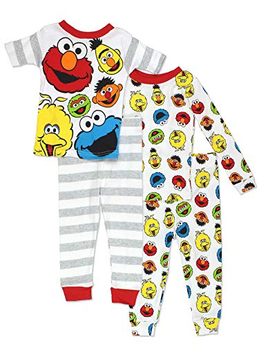 Sesame Street Gang Elmo Boys Girls 4 Piece Cotton Pajamas Set (3T, White/Multi)