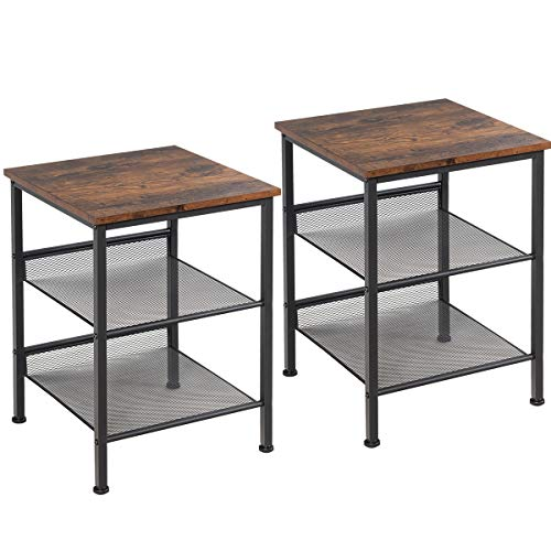 Giantex End Table for Living Room Sofa Beside Table 3-Tier Industrial W/Mesh Shelves,Stable Metal Frame Easy Assembly…