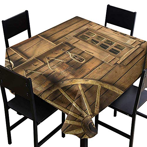 home1love Western Square Tablecloth Old Wagon Wheel and House Dinner Picnic Table Cloth Home Decoration 54 x 54 Inch