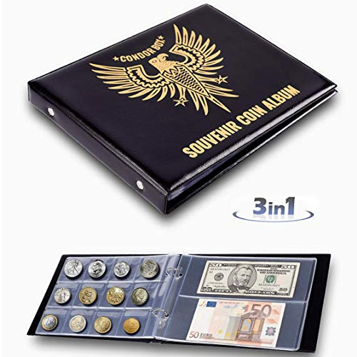 3in1 Coin Holder Album 180 Pockets - Paper Money Collection 10 Pockets - Large Storage Book for Collectors and Great for Gold Silver Dollars Dollar Bill Currency Quarters Penny Foreign Coins - Black