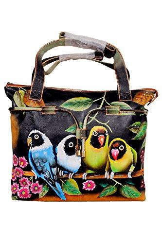 Niarvi Exotic Parrot Hand bemalt Handtasche