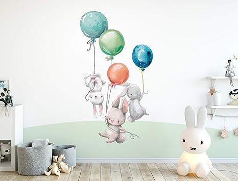 kina R00328 Stickers Muraux Ballon /à air Chaud Nuages Oiseaux Panda D/écoration Murale Chambre denfants Maternelle