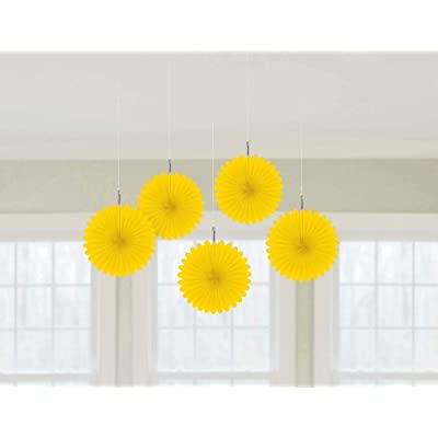 "Pretty and Fun Hanging Round Mini Fan Party Decoration, Sunshine Yellow, Paper , 6"", Pack of 5: Toys & Games"