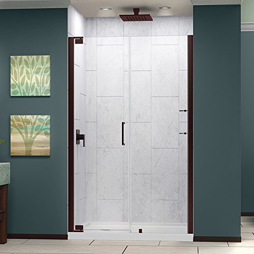 DreamLine Elegance 56 1/4-58 1/4 in. Width, Frameless Pivot Shower Door, 3/8'' Glass, Oil Rubbed Bronze Finish by DreamLine