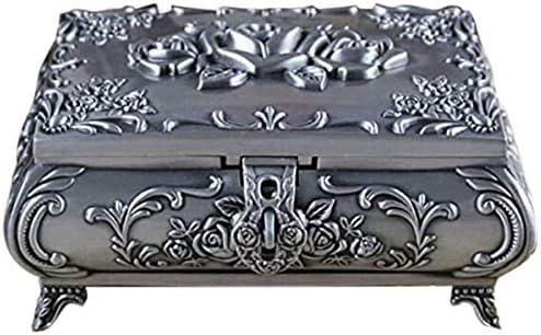 SODIAL Caja de Joyas Vintage Caja de JoyeríA de Moda Caja de Baratija de Metal de Aleación de Zinc Flor Tallada Rosa en Forma de Cuadrado: Amazon.es: Hogar
