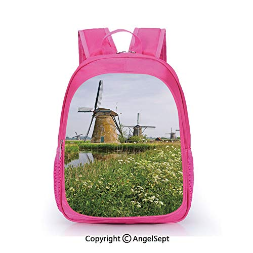 Casual Backpack Waterproof For Kindergarten Students,Country Landscape The Netherlands Spring Blooming Parsley Decorative Green Light Coffee Light Blue,15.7inch,Backpack For Kids Water Resistance