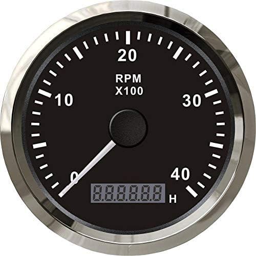 L.P.L バックライト付きアワーメーター12V / 24Vと85ミリメートル車のトラックのボートアナログタコメータRPMゲージ4000RPM (Color : BS, Size : フリー)
